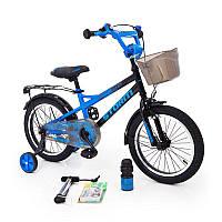18-STORM Детский велосипед c металлическим багажником и боковыми колесами синий от 6 лет Сборка 85%