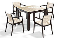 """Комплект высококачественной мебели """"REGNUM FOR 4""""   (стол 90*90, 4 кресла) Novussi, Турция Капучино+ коричневый;"""