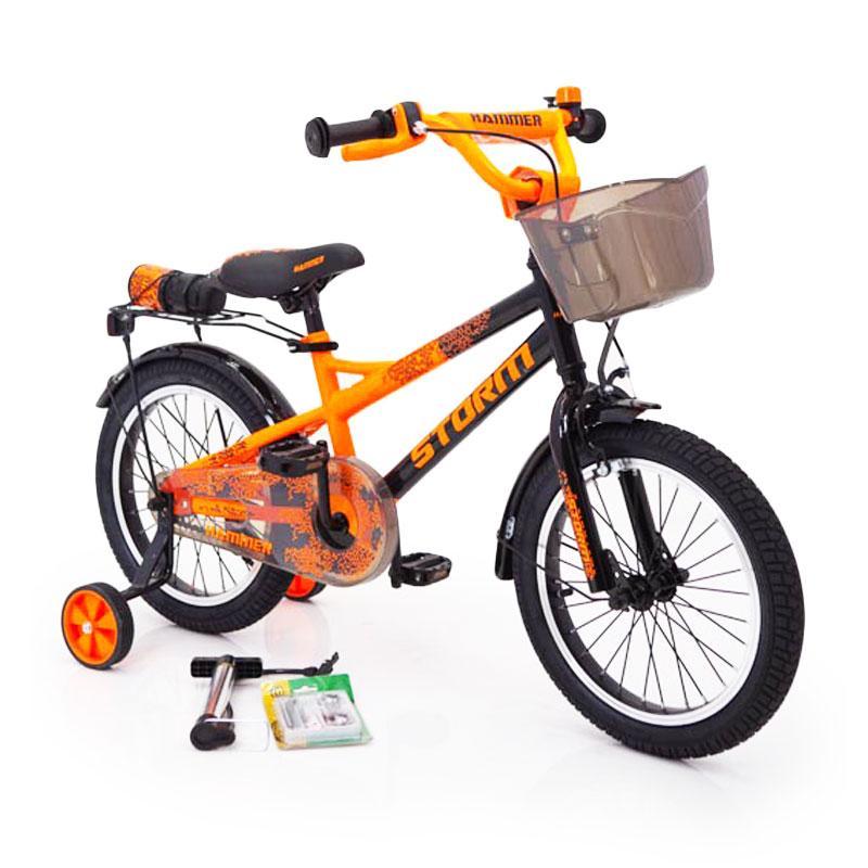 20-STORM Дитячий велосипед з ручкою і бічними колесами помаранчевий від 8 років Збірка 85%