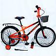 20-STORM Дитячий велосипед з ручкою і бічними колесами помаранчевий від 8 років Збірка 85%, фото 7