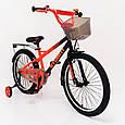20-STORM Дитячий велосипед з ручкою і бічними колесами помаранчевий від 8 років Збірка 85%, фото 5