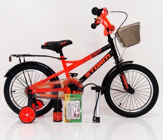 16-STORM  Детский велосипед c металлическим багажником и боковыми колесами оранжевый от 5 лет Сборка 85%