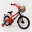 16-STORM  Детский велосипед c металлическим багажником и боковыми колесами оранжевый от 5 лет Сборка 85%, фото 2