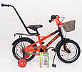 14-STORM  Детский велосипед с ручкой и боковыми колесами оранжевый от 3 лет Сборка 85% Насос в Подарок, фото 4