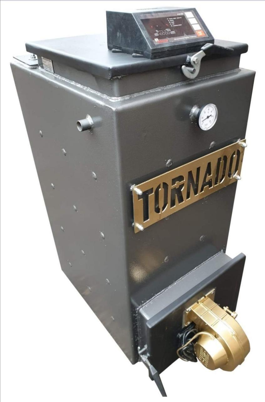 Твердотопливный котел Холмова с автоматическим контроллером и турбиной поддува  TORNADO  (ТОРНАДО) 25 КВТ