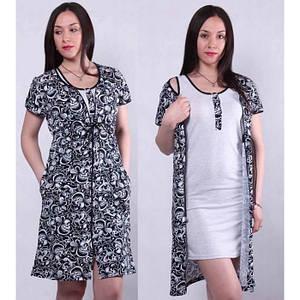 Комплект ночная рубашка с халатом на молнии черно-белого цвета 42-56 р