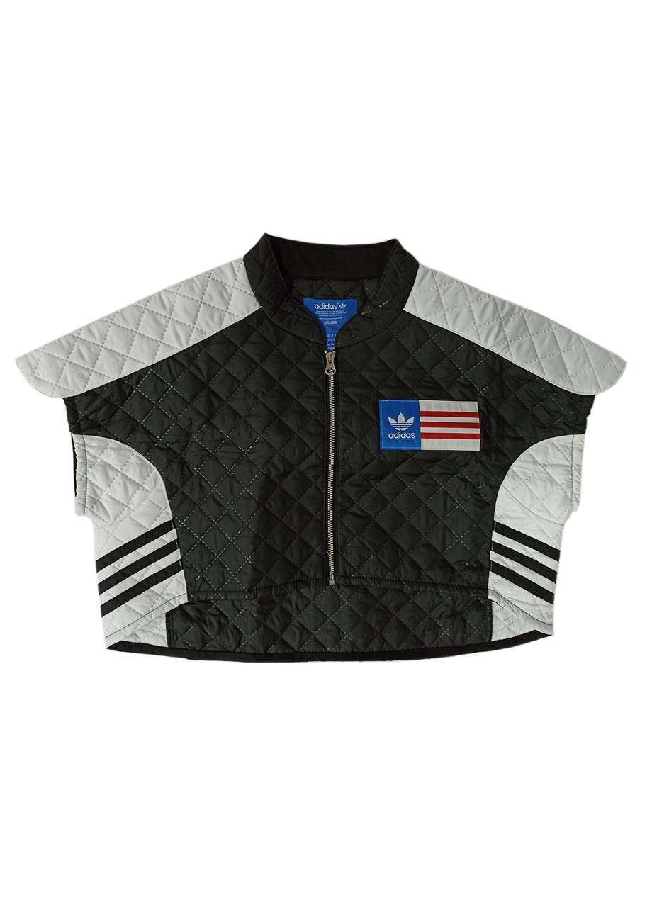 Спортивний кроп топ Adidas L Чорний, Білий