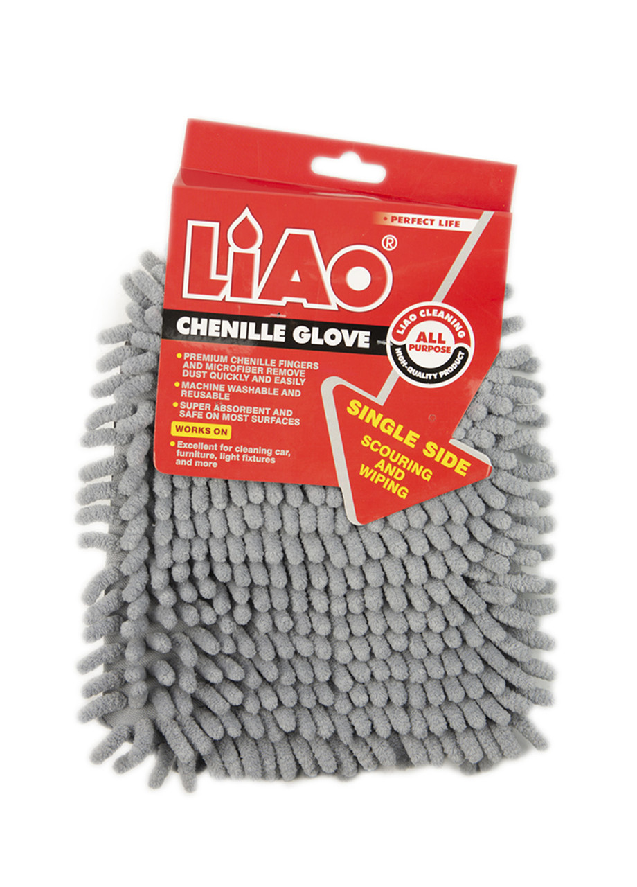 Рукавица для уборки пыли двойная Liao 17х17см Серый