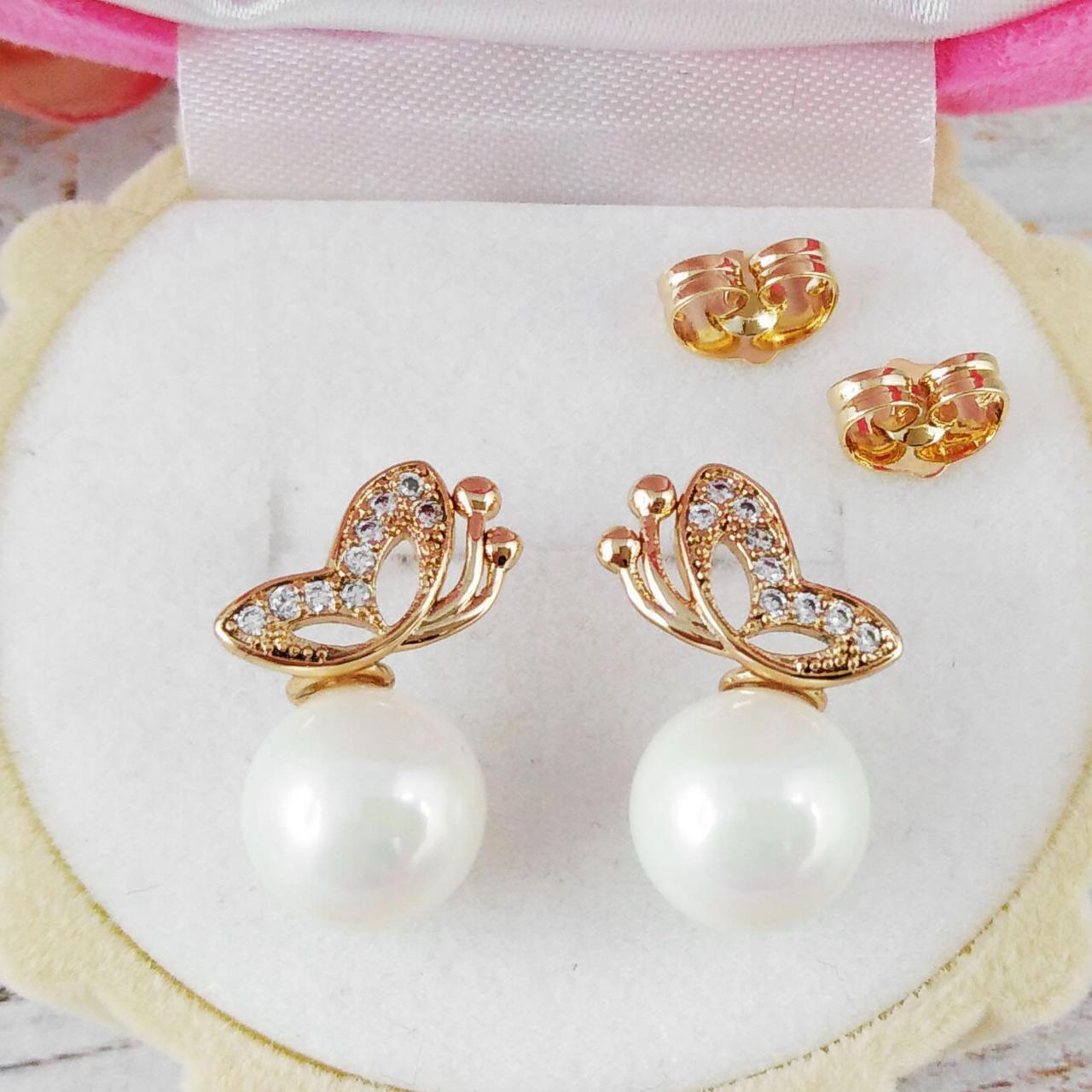 Серьги гвоздики Xuping Jewelry Бабочки с жемчужиной медицинское золото, позолота 18К А/В 5239