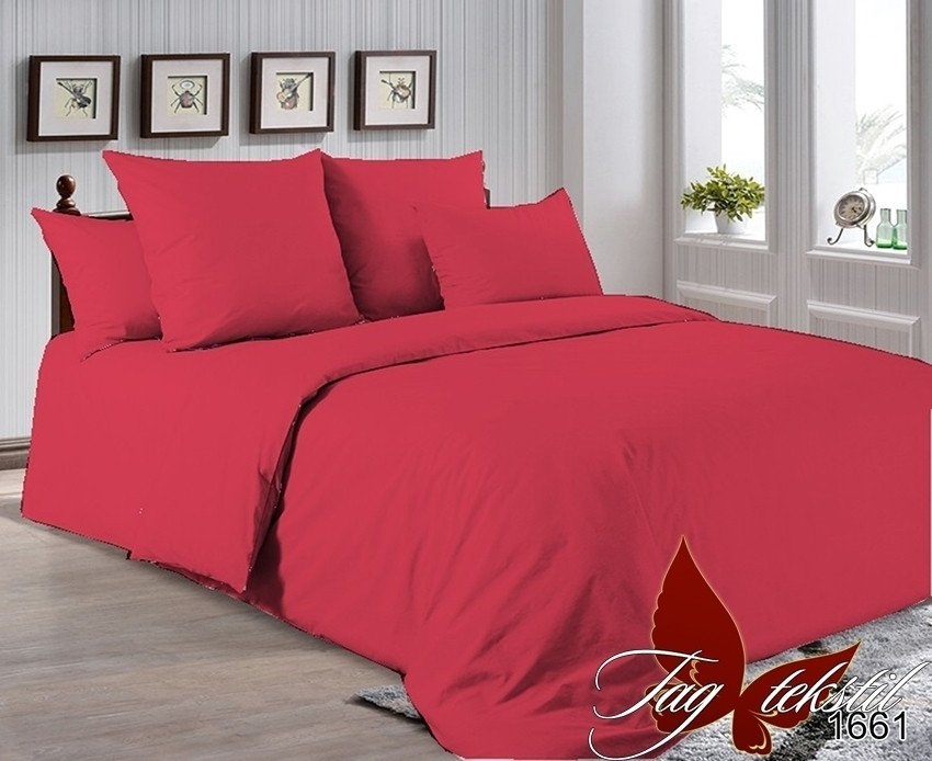 Комплект постельного белья бордовый  из однотонного поплина, семейный