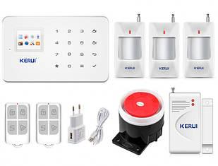 Комплект беспроводной GSM сигнализации для дома, дачи, гаража Kerui alarm G18 (OFHFBBEG679FUNJ)