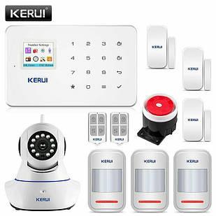 Комплект беспроводной GSM сигнализации Kerui G18 с WI- FI IP камерой (UUDBBVD66D88DJ)