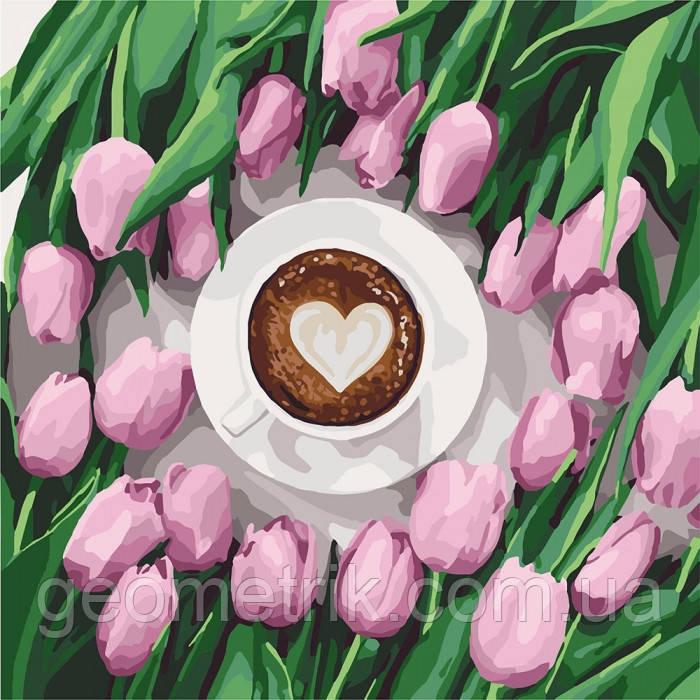 "Картина по номерам.  ""Кофе для любимой"" 40х40см арт. КНО5561"