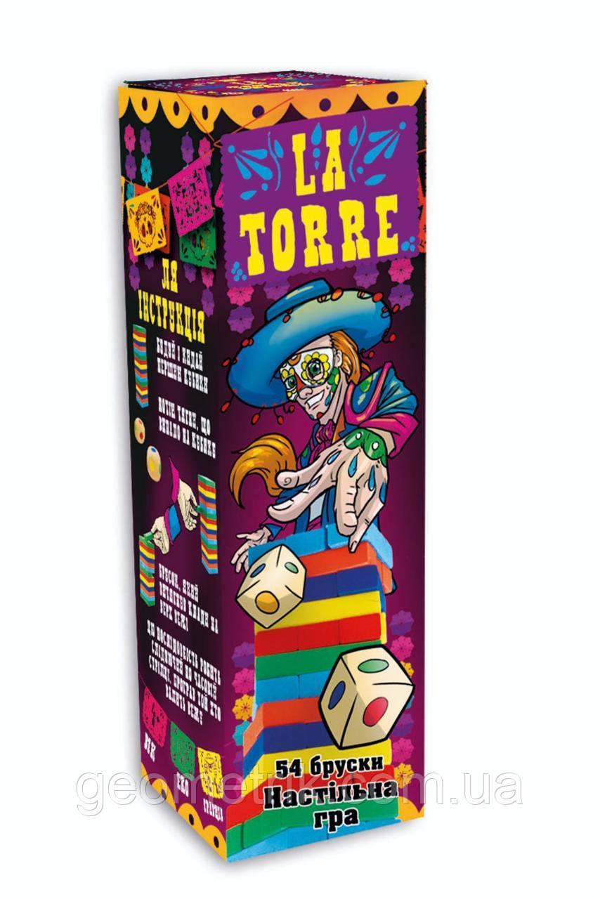 """Настольная игра """"La Torre"""" Дженга цветная 54 бруска + кубики (Стратег)"""