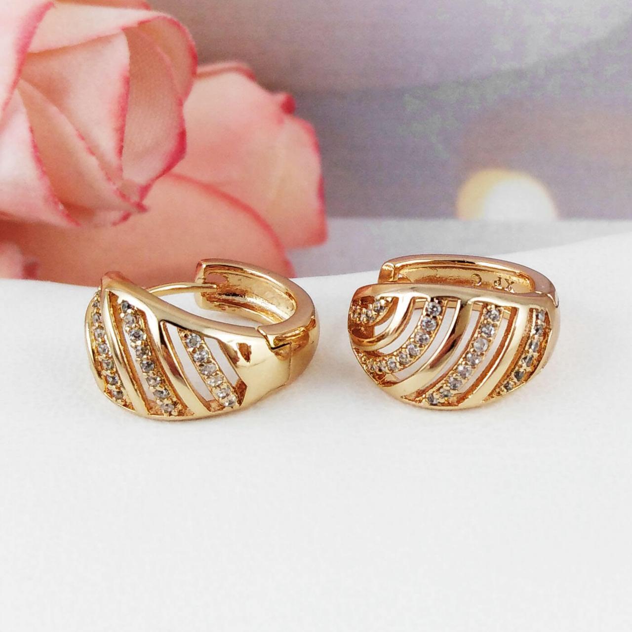Серьги кольца Xuping Jewelry Айрин медицинское золото, позолота 18К А/В 5259