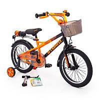 20-STORM  Детский велосипед с  боковыми колесами оранжевый от 8 лет Сборка 85% Насос в подарок!