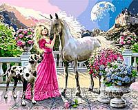 РукИТвор Картина по номерам (BK-GX8360) Принцесса и ее единорог, 40 х 50 см, Без коробки