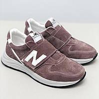 Кроссовки NEW BALANCE коричневые замшевые на липучке, фото 1