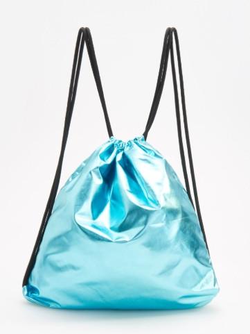 Голубой  Металлик   рюкзак  мешок   на подкладке  Reserved