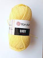 Пряжа детская акриловая Baby YarnArt, 100% акрил 50 гр., 200 м, Колір 315, пастельний жовтий