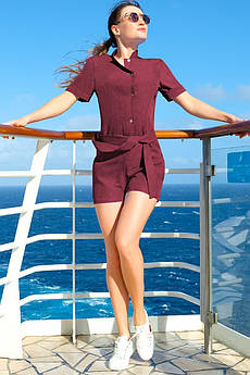 Бордовый женский комбинезон Флорида лен