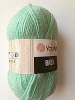 Пряжа для вязания акриловая детская Baby YarnArt, 100% акрил  50 гр., 150 м,  Колір 623 , м'ятний