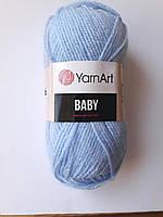 Пряжа  для вязания  акриловая детская  Baby YarnArt, 100% акрил  50 гр., 150 м,  Колір 215, голубий