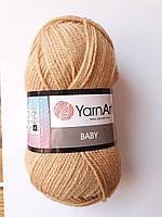 Нитки для в'язання пряжа для в'язання пряжа акрилова дитяча Baby YarnArt, 100% акрил YarnArt 50 гр., 150 м,  805, пісочний