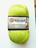 Нитки для в'язання пряжа  акрилова дитяча Baby YarnArt 100% акрил, 50 гр., 150 м, 13854, салатовий