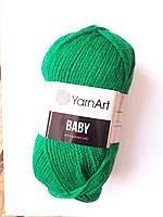 Нитки для в'язання пряжа акрилова дитяча Baby YarnArt, 100% акрил 50 гр., 150 м, 338, зелений смарагдовий, яскравий