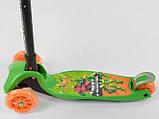 Самокат трехколесный детский складной руль светящиеся колеса принт зеленый Best Scooter Maxi 92324, фото 3