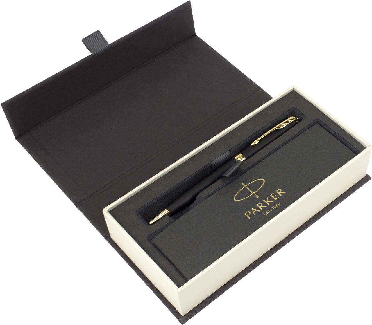 """Ручка кульк. """"Parker Sonnet"""" 17 Matte Black Lacquer №84832 позол."""