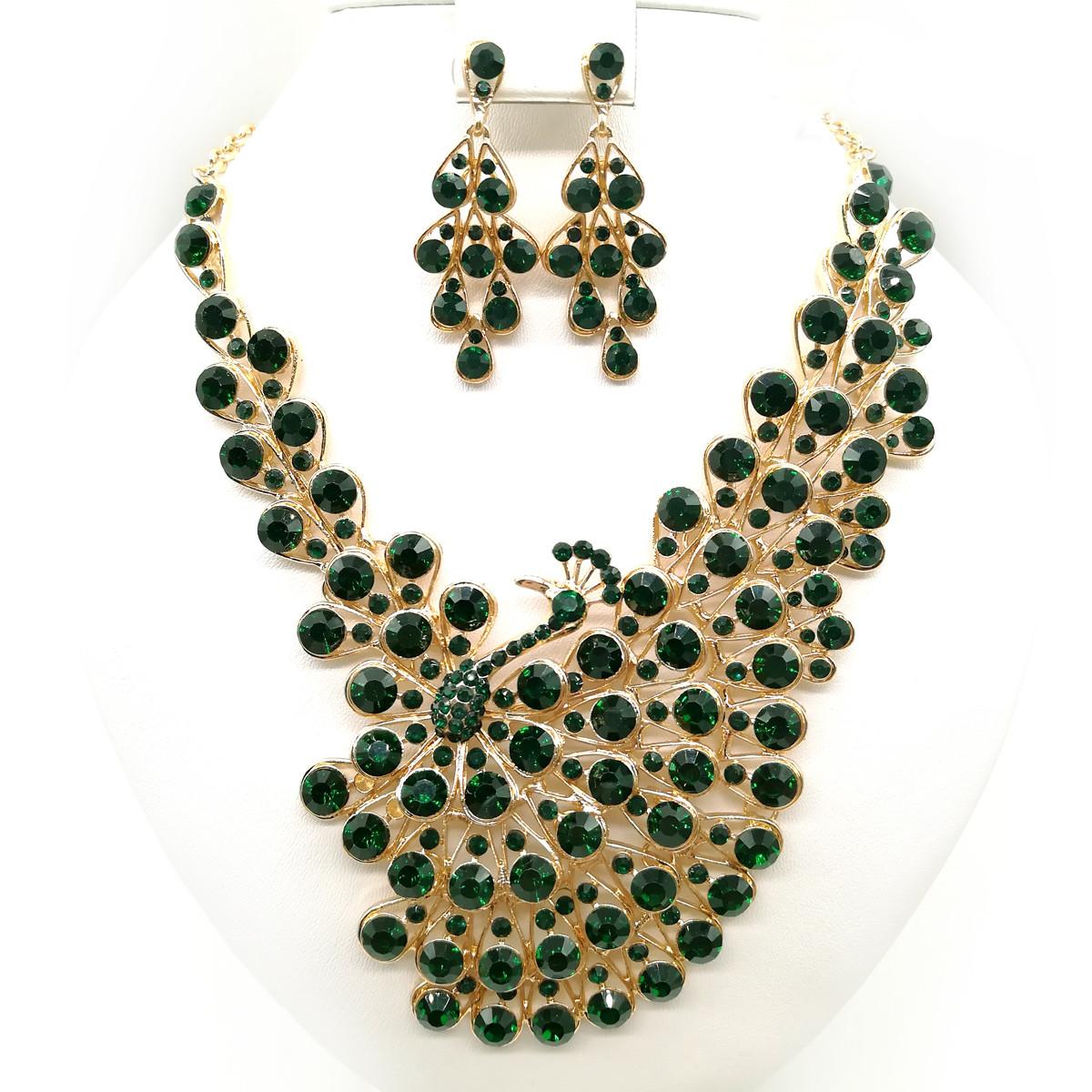 """Комплект SONATA """"Жар-птица"""" (Колье + серьги), зеленые камни, 63332       (1)"""