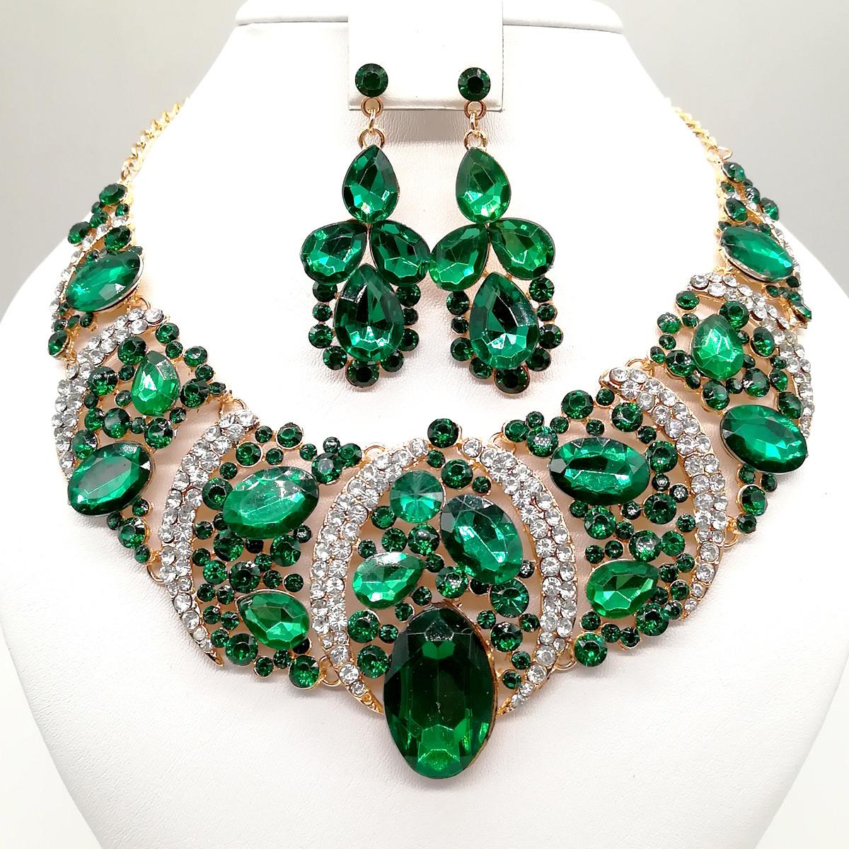 """Комплект SONATA """"Шарм"""" (Колье + серьги), зеленые камни, 63356       (1)"""