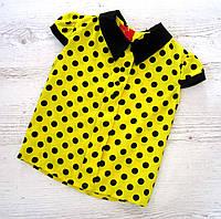 Р. 128-140 Дитяча блузка жовта в горох, фото 1