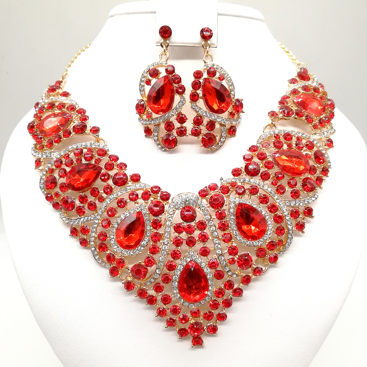 """Комплект SONATA """"Роскошь"""" (Колье + серьги), красные камни, 63361       (1)"""