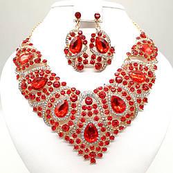 """Комплект SONATA """"Розкіш"""" (Кольє + сережки) з червоними фіанітами, 63361 (1)"""