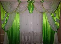 Ламбрекен №42+ двойные шторы, комплект Цвет салатовый