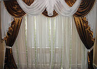 Ламбрекен и шторы из атласа №35, Цвет коричневый с белым