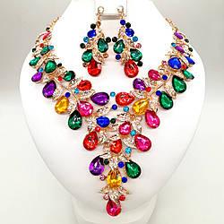 Комплект SONATA (Кольє + сережки) з різнокольоровими каменями, 63329 (1)