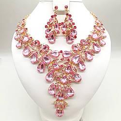 Комплект SONATA (Кольє + сережки) з ніжно-рожевим камінням, 63327 (1)