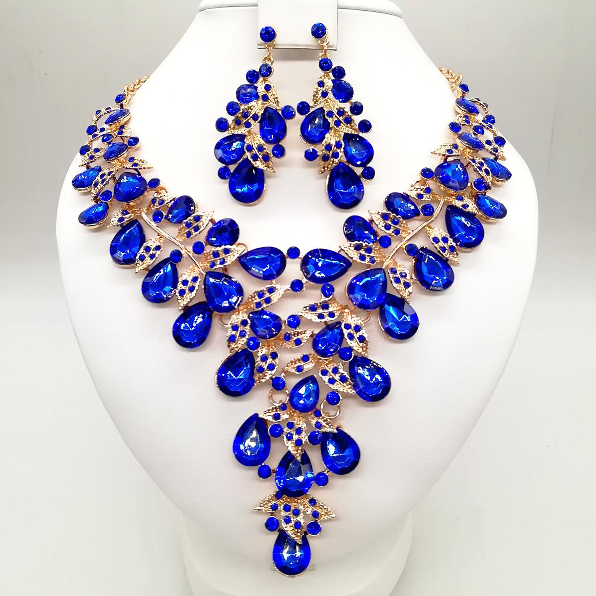 Комплект SONATA (Колье + серьги), ярко-синие камни, 63328       (1)