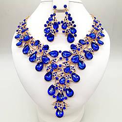 Комплект SONATA (Кольє + сережки) з яскраво-синіми фіанітами, 63328 (1)