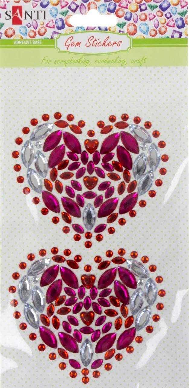 """Набір аплікацій з кристалів самокл. """"Santi"""" Hearts 9,5х15см №742532 (10)"""