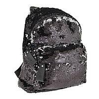 """Рюкзак """"Yes"""" GS-03 Black з паєтками 1від.,1карм. №557655, фото 1"""