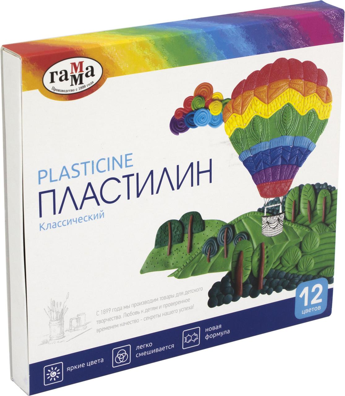 "Пластилін 12 кольор. 240гр ""Гамма"" Класичний №281033(16)"