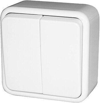 Выключатель двухклавишный e.touch.1112.w.blister для внешнего монтажа, белый, в блистерной упаковке, E.NEXT [p043003]