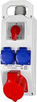 Монтажный набор выключатель: 0-1 32А 3Р + N + Z 400V, 2x16 2P + Z 250V, TAREL, E.NEXT [370]