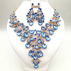 Комплект SONATA (Колье + серьги), нежно-голубые камни, 63330 (1)