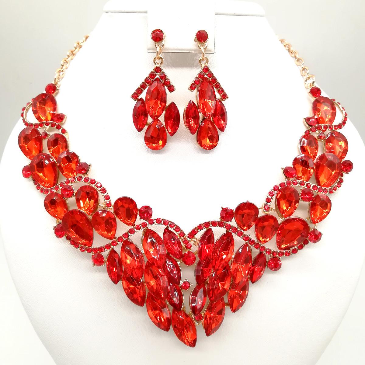 Комплект SONATA (Колье + серьги), красные камни, 63341       (1)